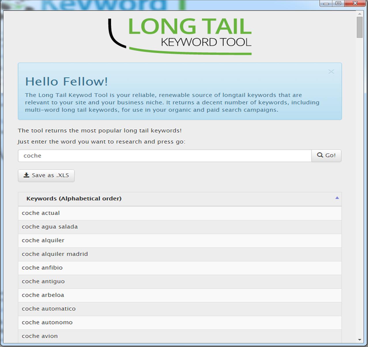 Herramienta de palabra clave - Keyword long tail