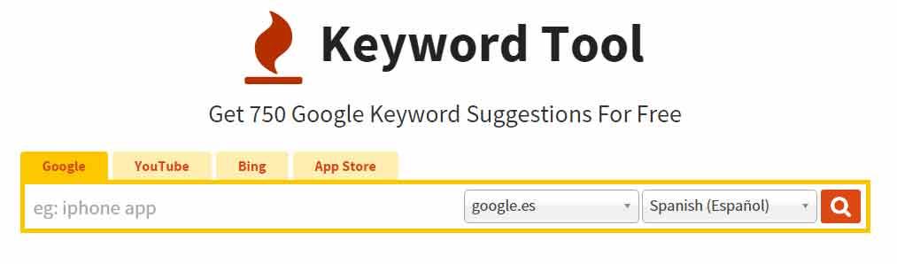 Herramienta de palabra clave - Keyword tool io