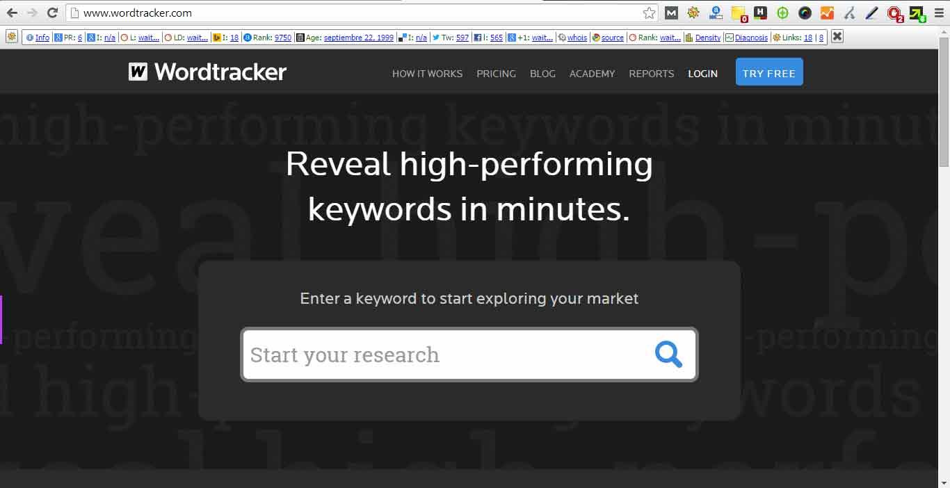 Herramienta de palabra clave - wordtracker