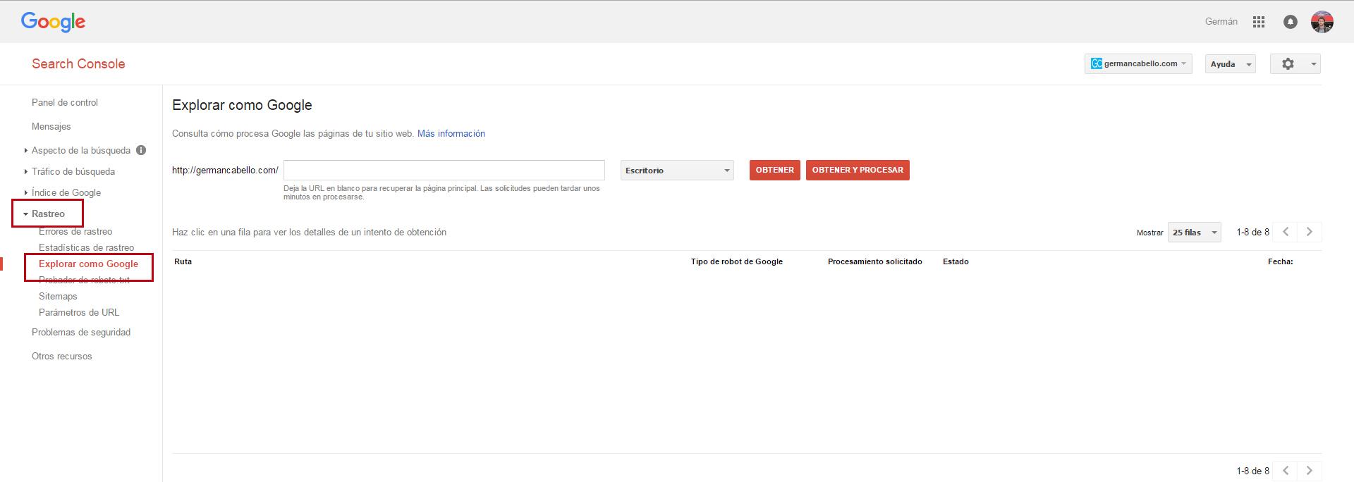 consola de google explorar como google