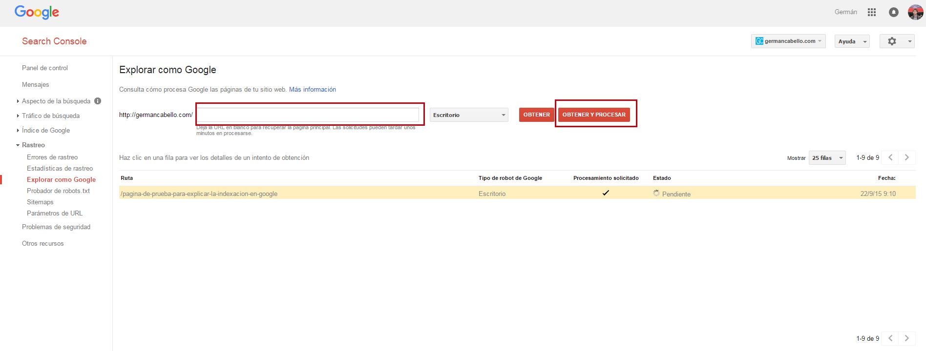 indexar pagina en la consola de google