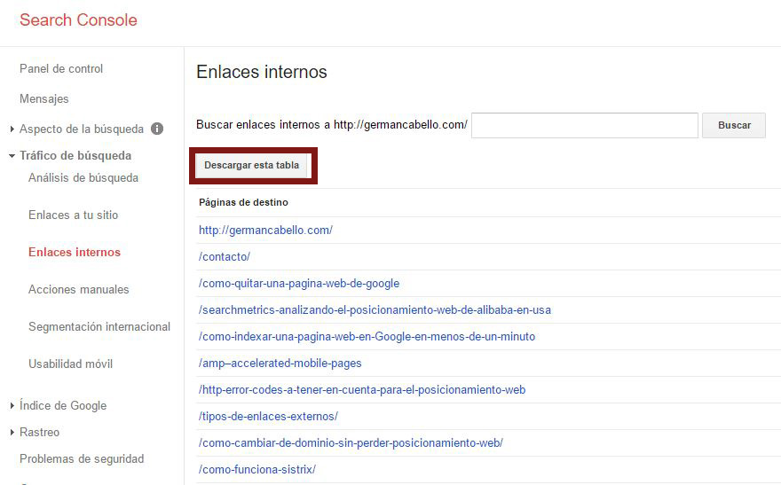 enlaces internos google search console