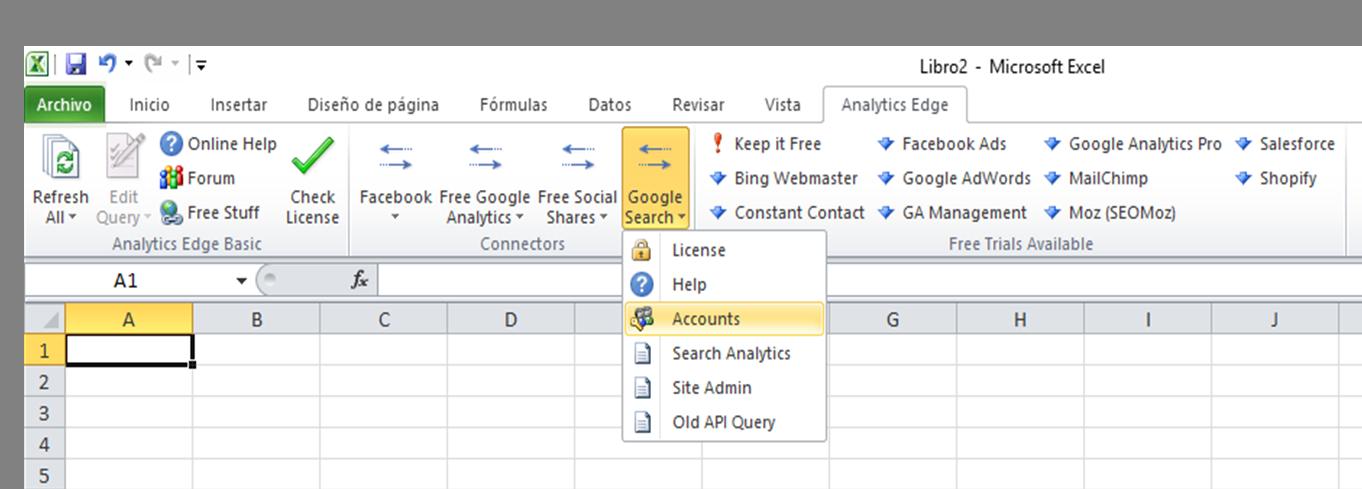 conectar a google search analytics edge