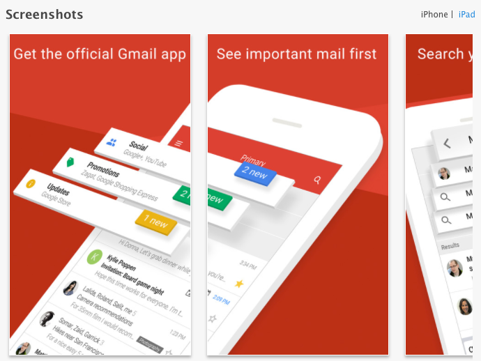 gmail app multipanel screenshots