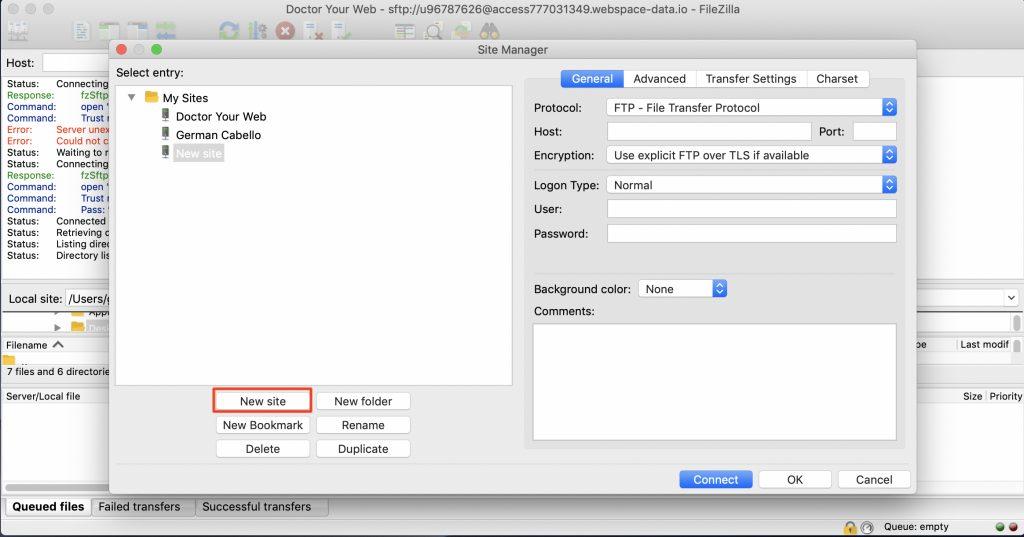 Añadir sitio web a FileZilla