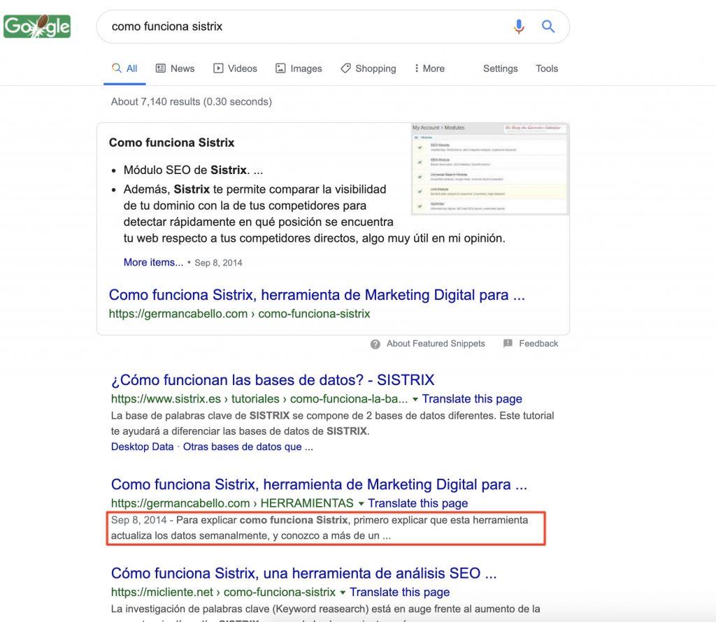 Ejemplo de metadescripción en Google