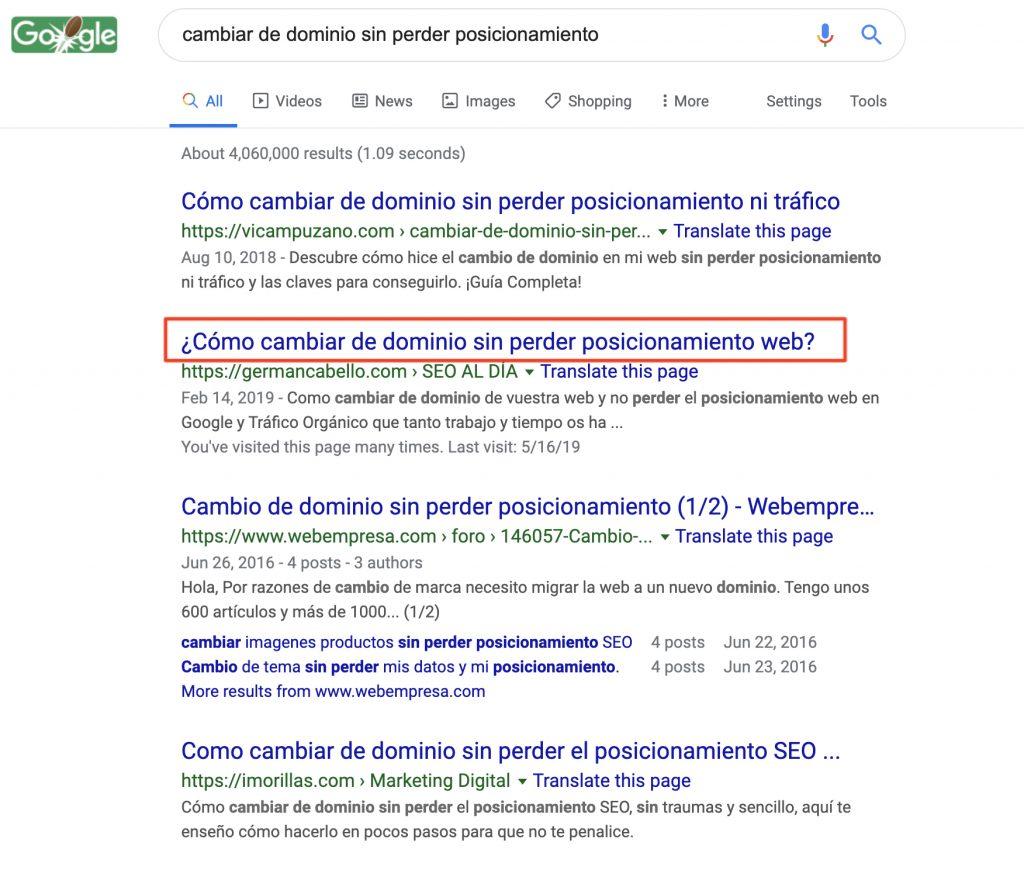 Ejemplo de title en Google