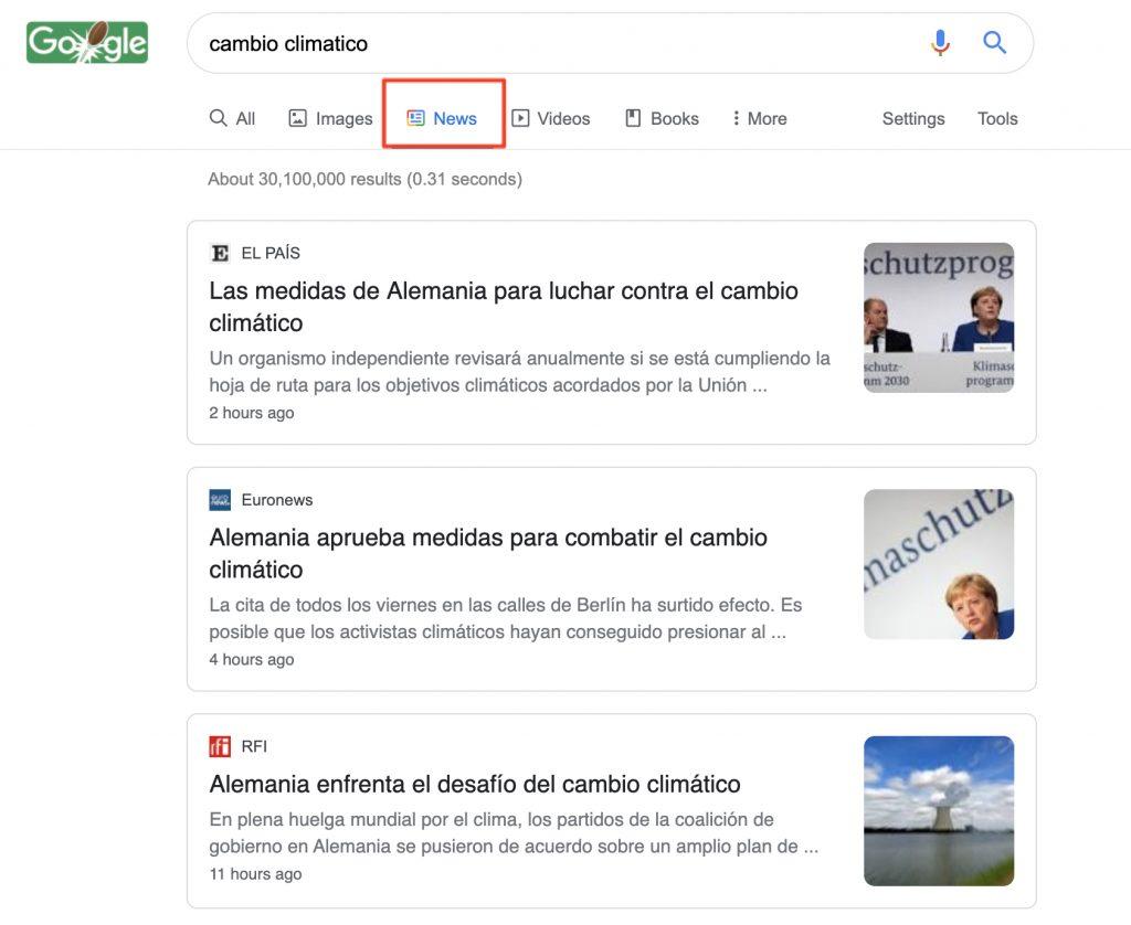 Ejemplo de Google Noticias