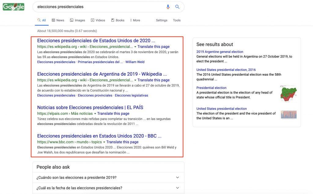 Ejemplo de página de resultados de búsqueda